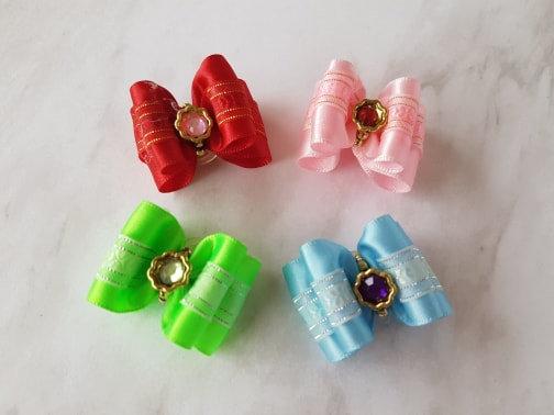 Satin Jewel Top Knot Elastic Bow