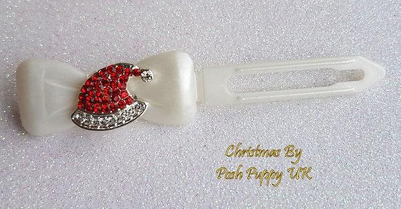 Diamante Santa Hat Barrette Christmas novelty Clip