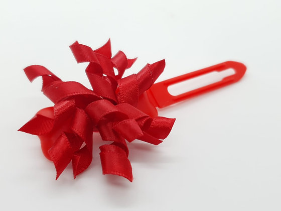 Red Satin bow on a 4.5cm clip