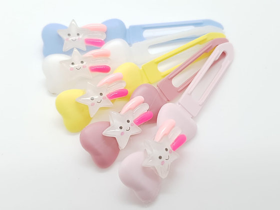 Jelly White Shooting Star top Knot barrette clip for dogs