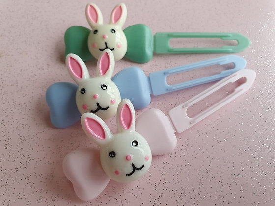 Easter Bunny Top knot barrette 4.5cm clips by Posh Pupp