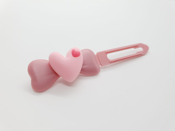 Pink Heart on on a 4.5cm Pearly Pink Bow Clip