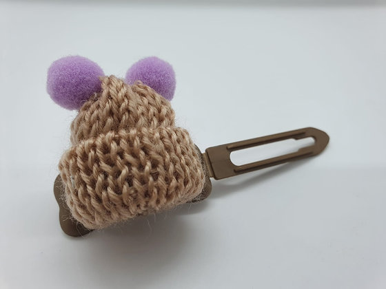 Brown Woolly Bobble Hat on a Bronze 4.5 Bow clip