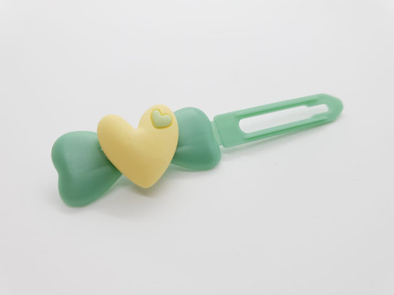 Yellow Heart on on a 4.5cm Fern Green Bow Clip