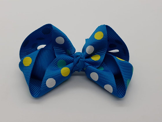 Blue Spotted Large Bow Alligator clip