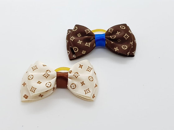 Club Patterned Silk Double Bow Soft Top Knot Elastic