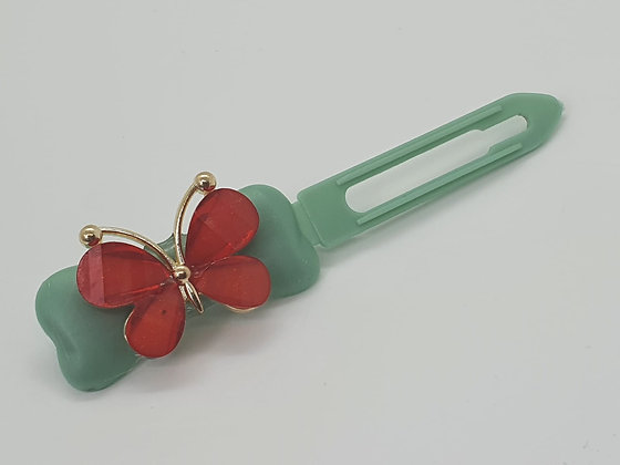 Spring Red Butterfly on a Fern Green 4.5 Clip