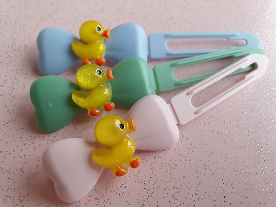 Baby Easter Chick Top knot barrette 4.5cm clips by Posh Puppy UK