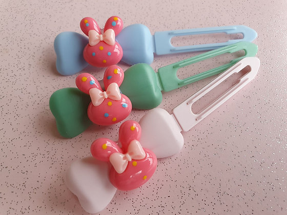 Easter Bunny Bow Pink Top knot barrette 4.5cm clips by Posh Puppy UK