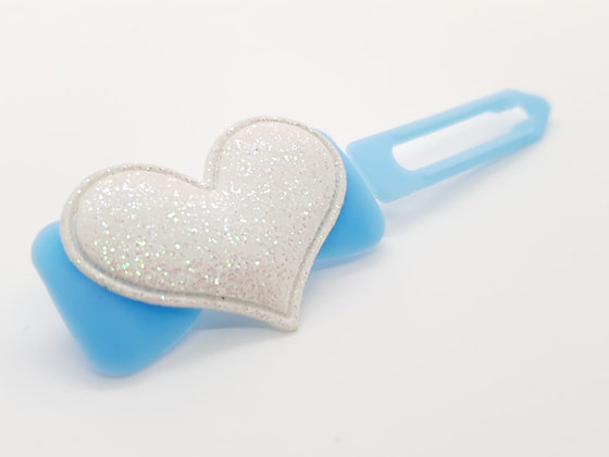 Limited Edition White Glitter Heart on a Baby Blue Bow 4.5 Clip