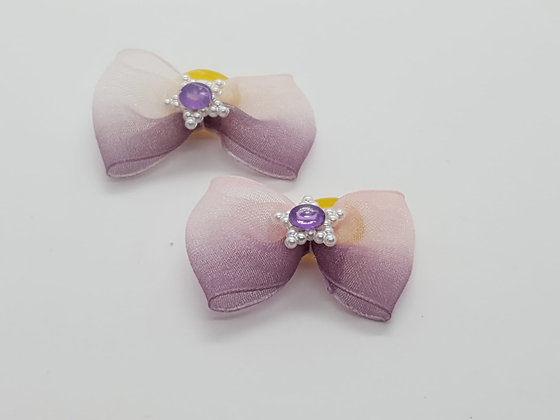 Netted Pink & Purple Heart Patterned Fabric Top Elastic Bow