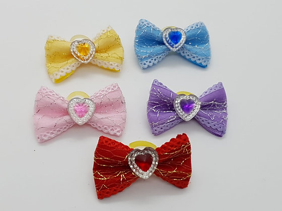 Hearts on a Silver Patterned Bow Soft Top Knot Elastic