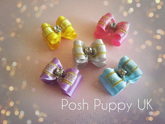 Satin Dotty Top Knot Elastic Bow