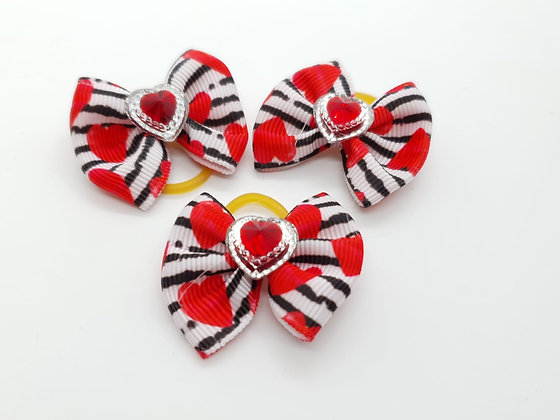 Heart Striped Patterned with White and Red Heart Fabric Top Knot Elastic Bow