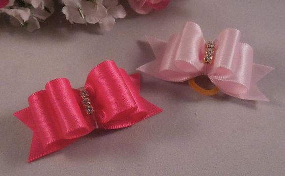 Satin Pink Top Knot Elastic Bow