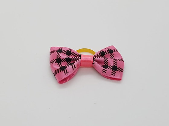 Black & Pink Chequed Bow Soft Top Knot Elastic
