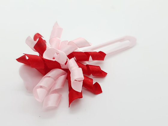 Pink & Red Satin bow on a 4.5cm clip