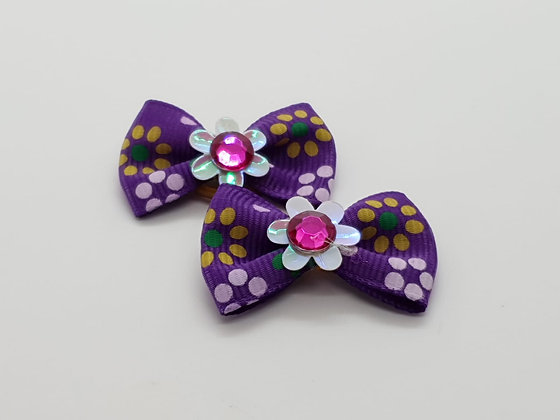 Purple Sunflower Patterned Fabric Top Elastic Bow