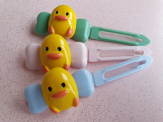 Easter Chick Top knot barrette 4.5cm clips by Posh Puppy UK
