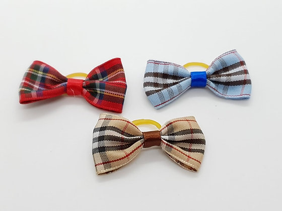 Chequed Coloured Single Bow Soft Top Knot Elastic