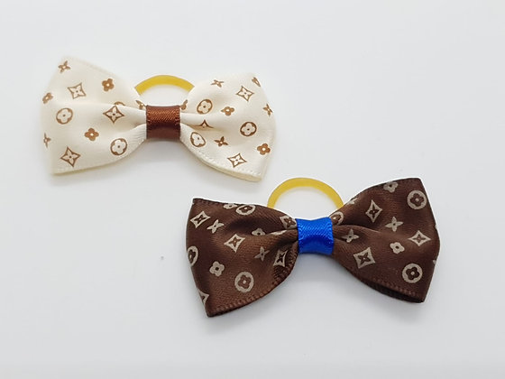Club Patterned Single Bow Soft Top Knot Elastic