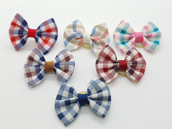 Chequed Fabric Soft Top Knot Elastic Bow