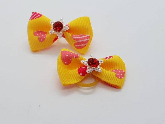 Yellow Spotted Heart Patterned Fabric Top Elastic Bow
