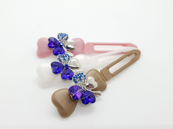 St Patricks Blue Diamante Small Clover (Choose your own colour and Clip)