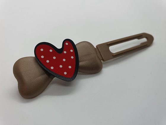 Valentine Limited Edition Red Dotty Heart on 4.5cm gold Clip