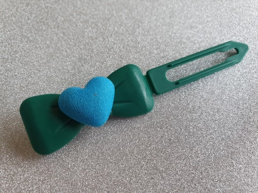 Fabric Heart top knot barrette 4.5cm by Posh Puppy