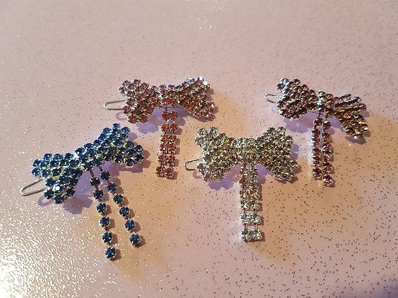 Diamante Bow Top Knot Barrette Clip