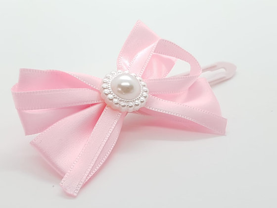 Pretty Pink Satin & Pearl Bow on a 4.5cm clip