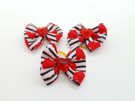 Heart Striped Patterned with Solid Red Heart Fabric Top Knot Elastic Bow