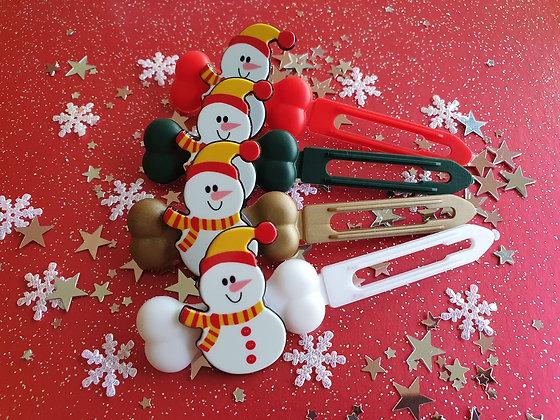 Winter Snowman top knot barrette 4.5cm by Posh Puppy