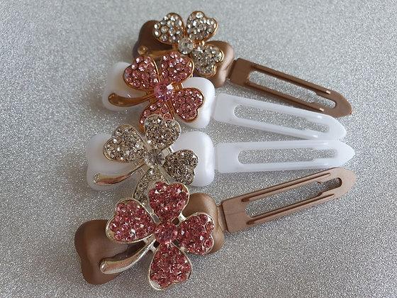 Diamante St Patricks Clover Top Knot Clip 4.5cm