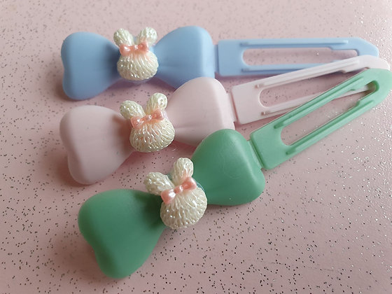 Easter White Bunny Top knot barrette 4.5cm clips by Posh Pupp