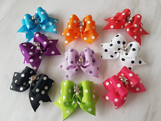 Large Grosgrain Spotty Bow Top Knot Elastic Bow