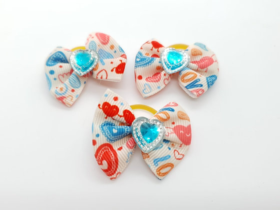 Heart Patterned with Blue and White Heart Fabric Top Knot Elastic Bow