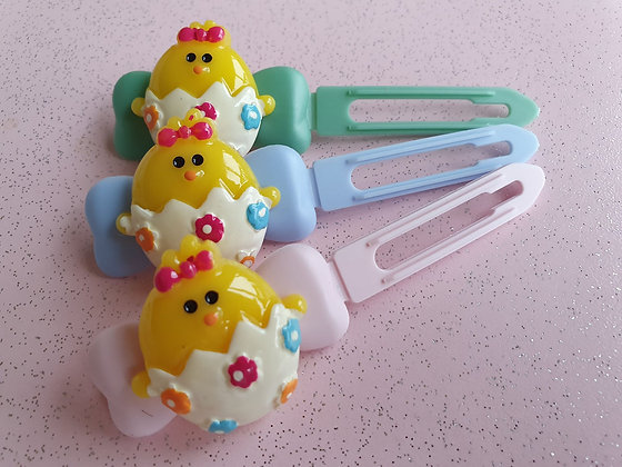 Easter Egg Chick Top knot barrette 4.5cm clips by Posh Puppy UK