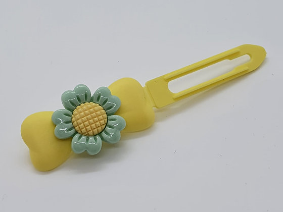 Limited Edition Cross Stitch Flower on 4.5cm Bow Clip by Posh Puppy UK