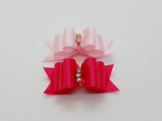 Satin Pink Soft Top Knot Elastic Bow