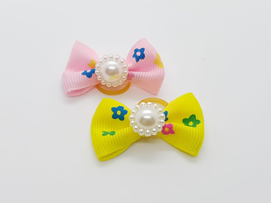 Coloured Flowers with a Centre Pearl on a Fabric Top Knot Elastic Bow