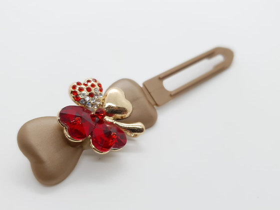 St Patricks Red Diamante Small Clover (Choose your own colour and Clip)