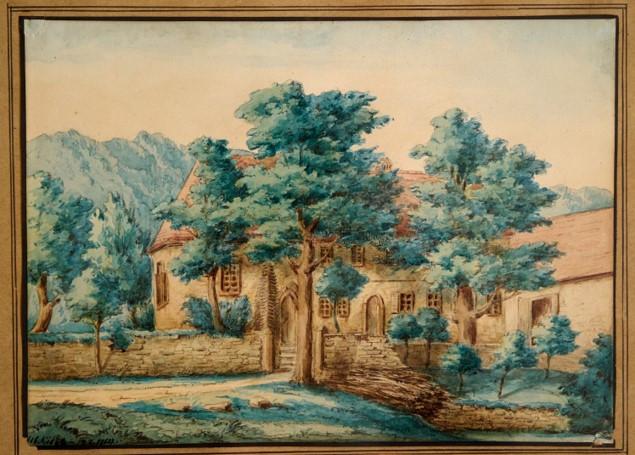 Das Gemälde von Philibert von Graimberg zeigt den historischen Gutleuthof mit Anbau.