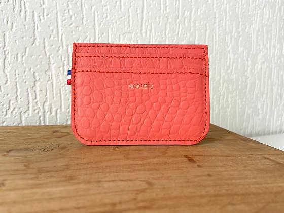 Porte cartes - Croco rose