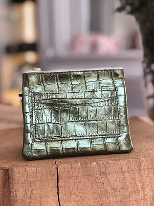 Porte-monnaie - Croco métal olive
