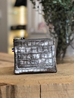 Porte-monnaie - Croco métal gris taupe
