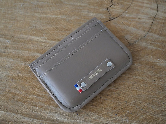 Porte-cartes taupe lisse