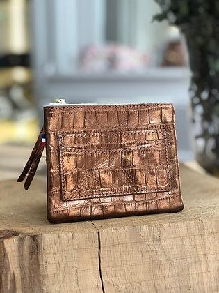 Porte-monnaie - Croco métal cuivre
