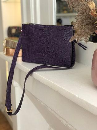 Pochette double - Croco mat violet